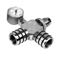 Manta Air Line Splitter W. Pressure Gauge