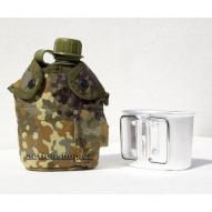 Water bottles and hydration bags US polymer water canteen pouch with cup and cover, flecktarn